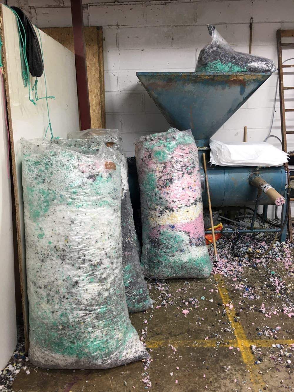 Recycled foam